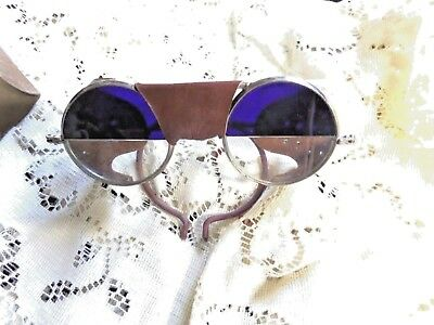 Antique WILLSON Leather Sunglasses Goggles COBALT & CLEAR, W/BOX
