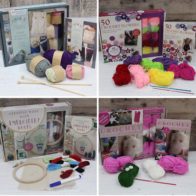 Knitting Crochet Embroidery Beginner Starter Kit Wool Needles Hoops & Buttons