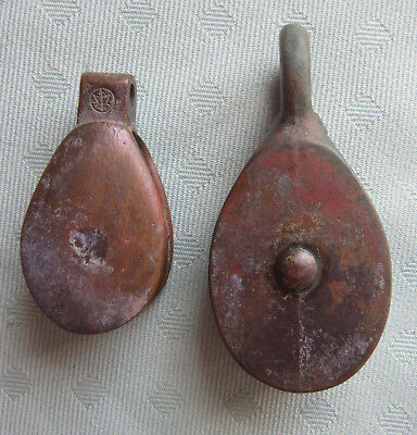 2 Vintage Bronze Sailboat Pulleys