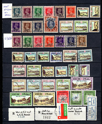 Oman Muscat Boea 1944-1954 Kgvi Qeii Selection Of Mnh No Gum & Used Stamps