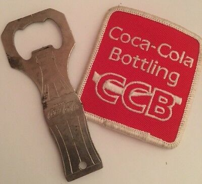 Vintage Coca Cola Bottling CCB Employee Patch & Bottle Opener RARE