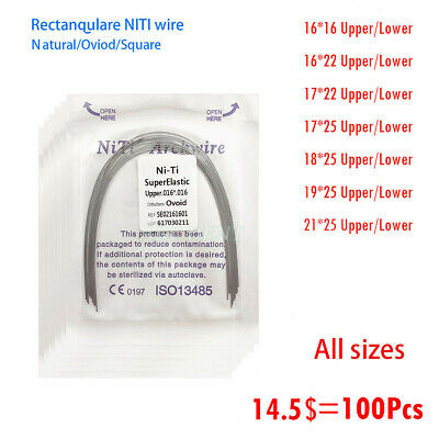 100Pcs Dental Orthodontic NITI Super Elastic Rectangular Arch Wires All Size