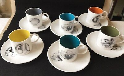 """Six Susie Cooper """"Black Fruits"""" Coffee Cups And Saucers"""