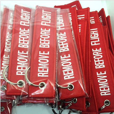 2pcs Remove Before Flight Key Chain Luggage Tag Zipper Woven Keychain Embroidery