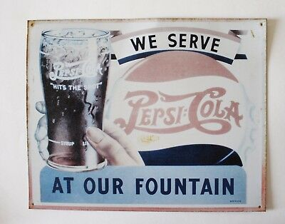 "We Serve Pepsi Cola At Our Fountain Vintage Style Replica 12""x15"" Metal Sign"
