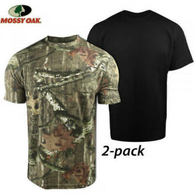 New 2 Pack Mossy Oak Men's T-shirt Premium Cotton Camo & Black Crew