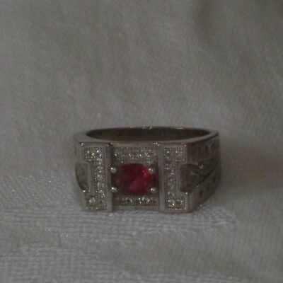 Vintage Size 9 Silver Ring with Pink Stone and tiny clear stones No Markings