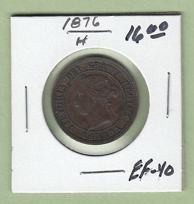 1876-H Canadian Large One Cent Coin - EF-40