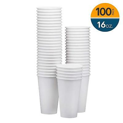 NYHI 100-Pack 16oz White Paper Disposable Cups – Hot/Cold Beverage Drinking Cup