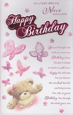 Large Niece Birthday Card 8 Page Full Colour Insert Verse