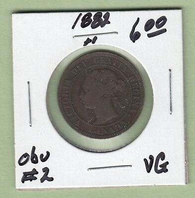 1882-H Canadian Large One Cent Coin - Obverse 2 - VG