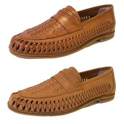 Top Brand Mens Bow Weave Slip On Tan Real Leather Boat Shoes Loafers Size 6-12