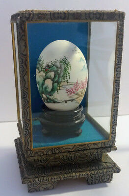 Vintage Japanese Hand painted egg with glass case Mountain landscape