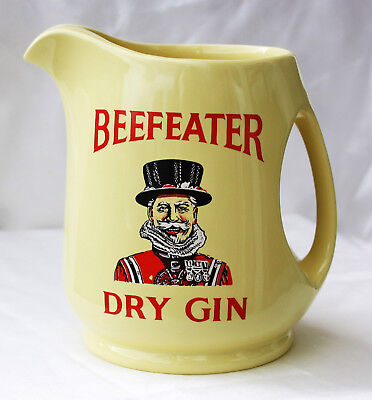 Beefeater Dry Gin Jug Pitcher England London Wade Ceramic yellow red Krug gelb