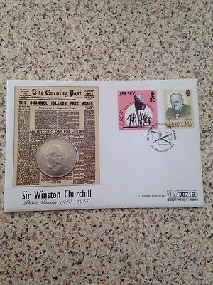 Sir Winston Spencer Churchill Framed Coins 1965  Jersey Commemorative Cover Rare
