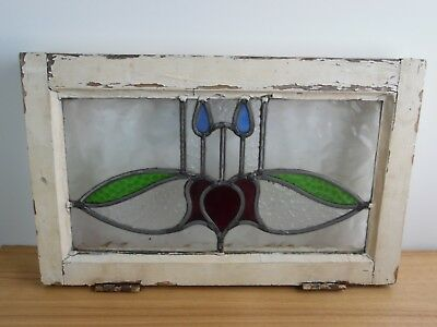 VINTAGE STAIN GLASS WINDOW FRAME FULL FRAME 20x13x1 5/8 bird butterfly ?