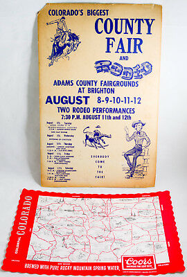 Colorado County Fair & Rodeo Poster Adams Fairgrounds AND COORS Placemat 1976