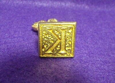 "Vintage Italy Brass Square Letter ""K"" Fleur-de-lis Handle Sealing Wax Stamp Seal"