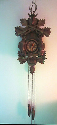 Large German Black Forest Cuckoo Clock 20 X 10 Inches With Deer Hunting Nice