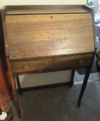 Wood Vintage Secretary Desk Pigeon holes Drop Leaf