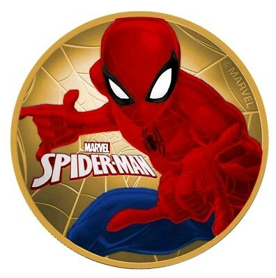 "2017 Tuvalu ""SPIDERMAN"" Colorized/24K Gold Gilded 1oz .999 Silver - Box and COA"