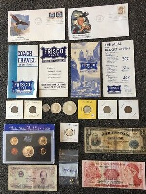 Junk Drawer Lot # 28: 14 K Gold Jewelry Silver Coins Proof Set
