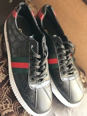def283285a1 GUCCI 386738 GG Men s High Top White Leather Sneakers Shoes Lace-Up ...
