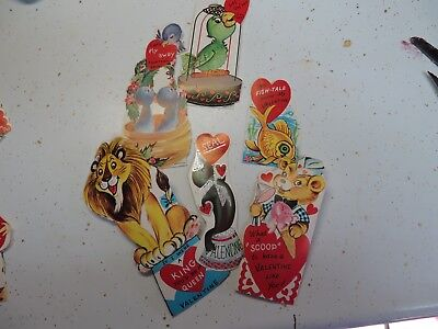 6 vtg. Valentine Card Old Fashioned unused 1950s Die Cut birds/ fish/ lion/ bear