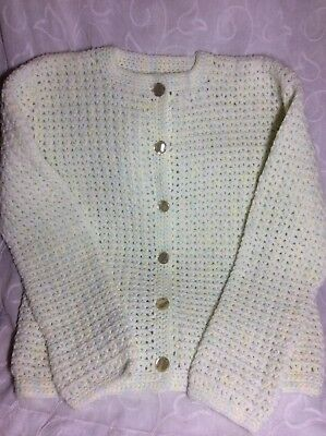 Girls vintage hand crocheted cardigan mint green shade wool immaculate condition