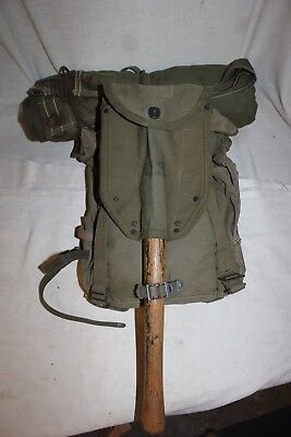 US Military Issue WW2 1945 Canvas Backpack Tent and Shovel with Pouch Set