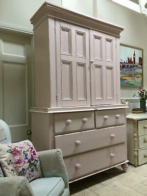 Large Antique Blush Pink Painted Pine Dresser Larder Linen Cupboard Kitchen