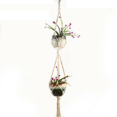 Pot Holder Macrame Plant Hanger Hanging Planter Basket Jute Rope Braided gx