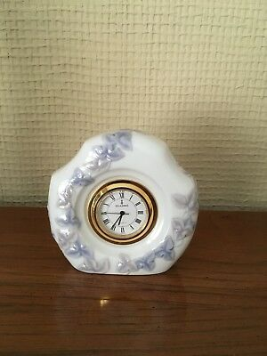 Lladro Table Clock, Floral, MINT condition