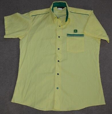 Vtg John Deere S/S Uniform Shirt Protexall Snap Button Large Tractor Made in USA