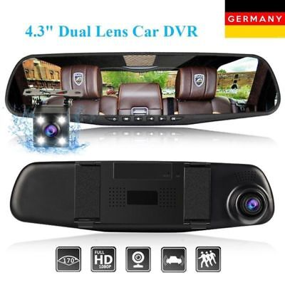 "4.3"" 1080P Dual Lens Car DVR Rearview Mirror G-sensor+Camera Video Recorder Dash"