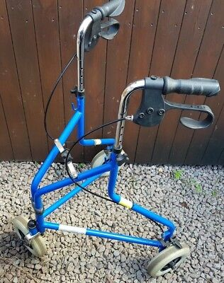 Blue Three Wheeled Rollator Walker With Hand Brakes