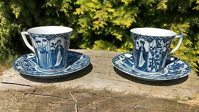 Vintage Antique Beautiful Pair of Royal Blue Chinese Cup and Saucer *
