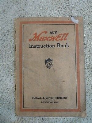 Rare Find Original 1915 Maxwell Motor Company Instruction Book Manual