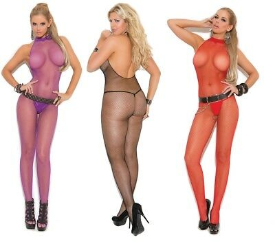 Seamless Fishnet Bodystocking W/High Halter Neck & Open Crotch, Catsuit, Body