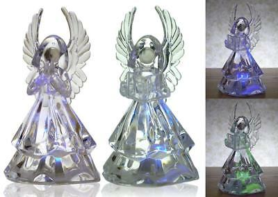 LED Angel Figurines - Set of 2 Clear Acrylic Color Changing LED Angels - One
