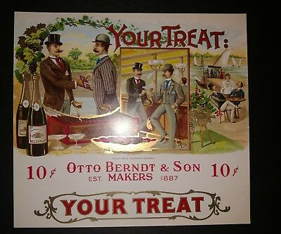 YOUR TREAT inner CIGAR BOX LABEL Scarce 1920s ORIGINAL OTTO BERNDT