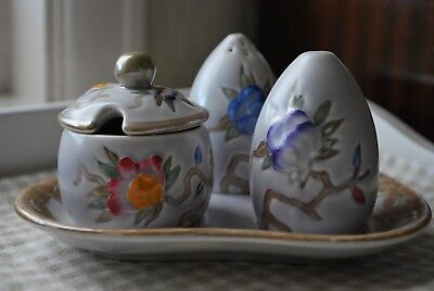 Wood & Sons 5 piece 1950/60s cruet set Chinese Rose - lovely gift or display