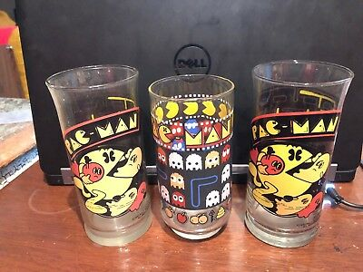 5 Vintage Pac-Man Glasses 4 Different Kinds + Thermos Bally Midway 1982