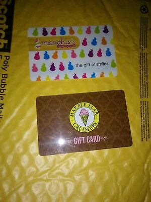 Collectible Gift Cards Ice Cream MARBLE SLAB, menchies  no $ value on cards.