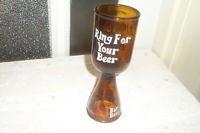 Collectable Vintage Retro Kitsch Amber Glass Bar Bell 'Ring For Your Beer'