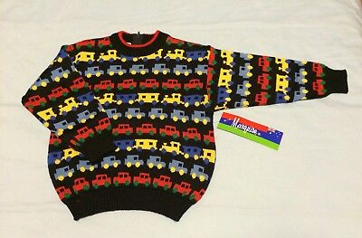 Vintage Marquise Boys Size 4 Knitted Wool Jumper Cars Trains Trucks Navy BNWT