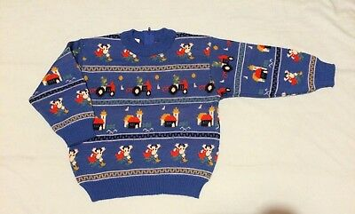 Vintage Marquise Boys Size 2 Knitted Wool Jumper Blue Tractors Farm New