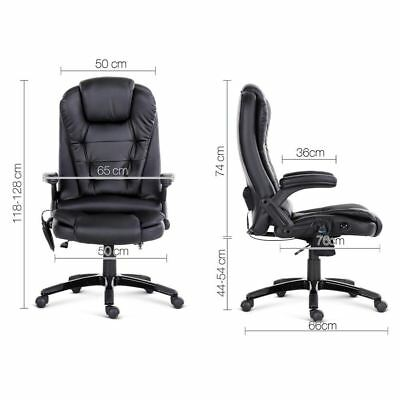 8 Point PU Leather Executive Reclining Massage Chair Home Office Black