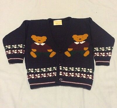 Vintage Knitted Wool Cardigan Jumper  Boys Size 2 Navy Teddy Bears Brand New
