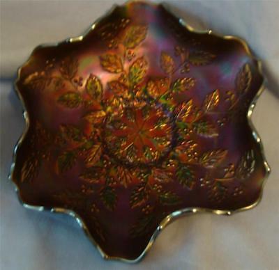 FENTON HOLLY & BERRY BLUE GREEN CARNIVAL GLASS BOWL~LOT OF IRIDESCENCE~Excellent